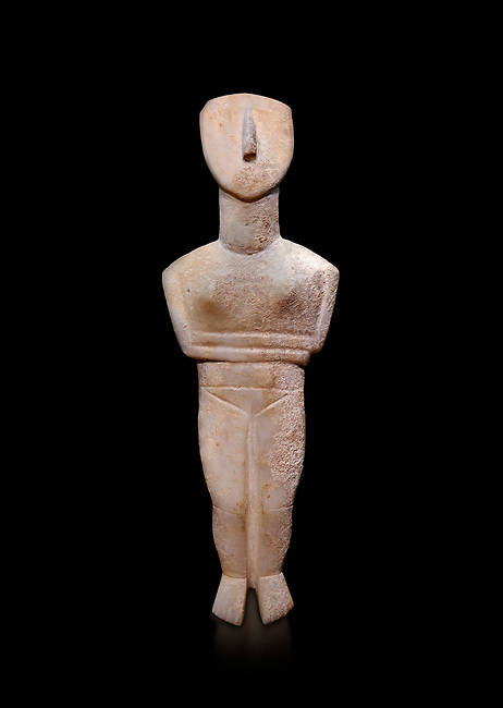 Female figurine statuette : Cycladic Canonical type, Spedos variety f. Early Cycladic Period II, (2800-2300 BC), ' Museum of Cycladic Art Athens, cat no 207.  Against black