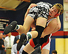 Sebastian Sandler of Cold Spring Harbor tries to take down Liam Coffey of Carle Place-Wheatley during their 152 pound bout in the Nassau County Division II varsity wrestling finals at Cold Spring Harbor High School on Saturday, Feb. 10, 2018. Sandler won the match to claim the county championship at the weight class.