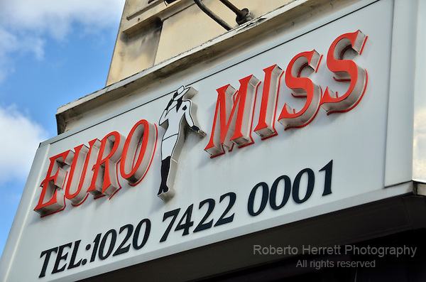 Euro Miss sign outside a fashion wholesaler in Commercial Road, London, UK.