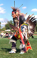 Native American dancer age 45 wearing ceremonial clothing. Como Park's Traditional Powwow St Paul Minnesota USA