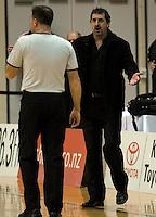 Hawks coach Shawn Dennis questions umpire Dallas Pickering. NBL Semifinal - Wellington Saints v Bay Hawks at TSB Bank Arena, Wellington on Friday, 25 June 2010. Photo: Dave Lintott/lintottphoto.co.nz