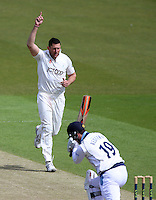 PICTURE BY VAUGHN RIDLEY/SWPIX.COM - Cricket - County Championship - Yorkshire v Derbyshire, Day 2 - Headingley, Leeds, England - 30/04/13 - Yorkshire's Tim Bresnan celebrates the wicket of Derbyshire's Dan Refern.