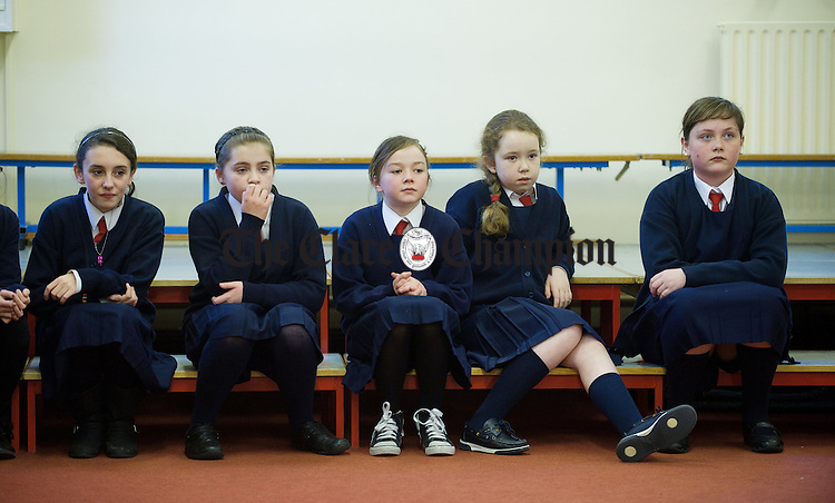 Fifth and sixth class pupils look on during a set dancing class at Killaloe Convent primary school. Photograph by John Kelly.