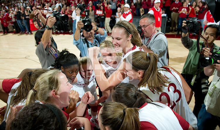STANFORD CA-DECEMBER 30, 2010: Team celebration after the Stanford 71-59 victory over UCONN at Maples Pavilion.