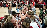 STANFORD CA-DECEMBER 30, 2010: Team celebration after the Stanford 71-59 victory over UCONN at Maples Pavilion.