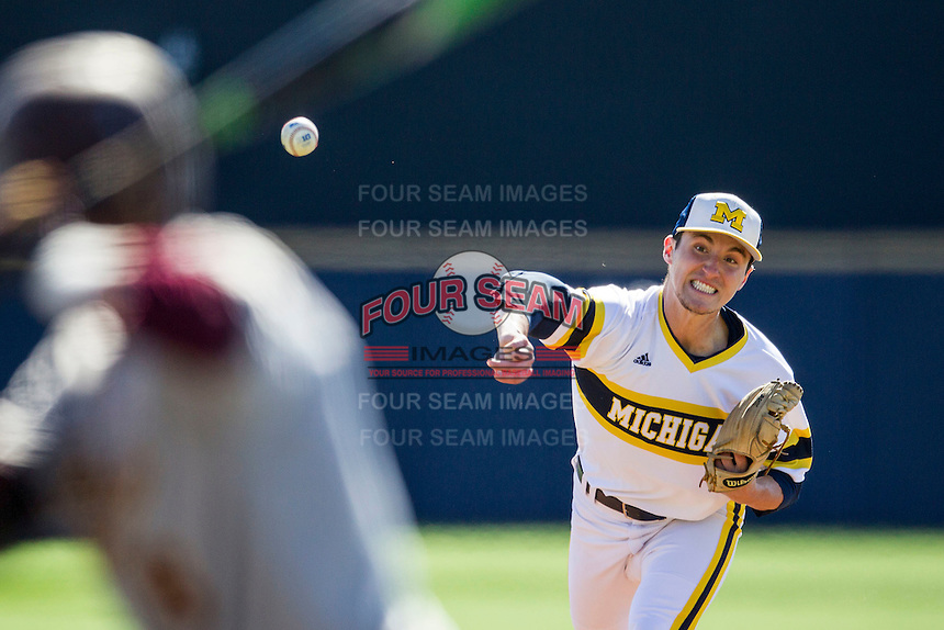 Michigan Wolverines pitcher Keith Lehmann (13) delivers a pitch to the plate against the Central Michigan Chippewas on March 29, 2016 at Ray Fisher Stadium in Ann Arbor, Michigan. Michigan defeated Central Michigan 9-7. (Andrew Woolley/Four Seam Images)