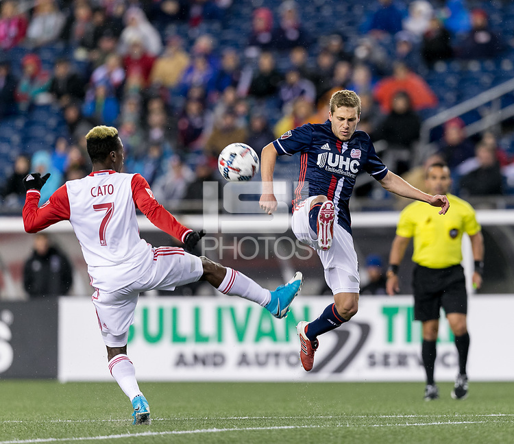 Foxborough, Massachusetts - April 19, 2017: In a Major League Soccer (MLS) match, New England Revolution (blue/white) tied San Jose Earthquakes (white), 0-0, at Gillette Stadium.