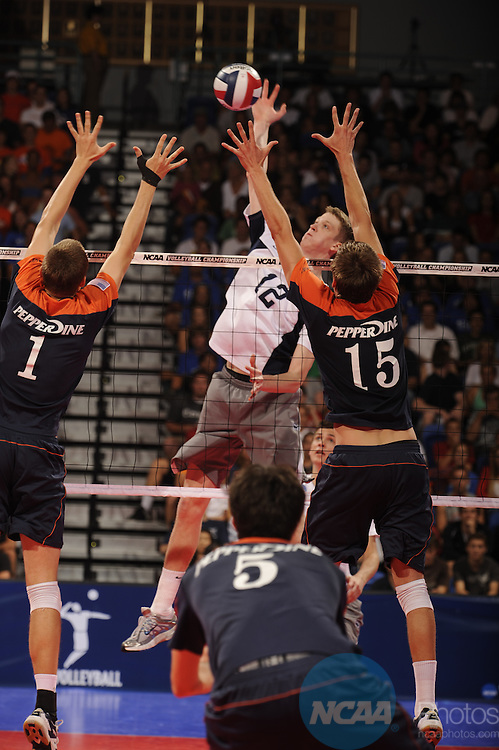 03 MAY 2008:  Max Holt (12) of Penn State University hits the ball against Pepperdine University during the Division I Men's Volleyball Championship held at the Bren Events Center on the University of California-Irvine campus in Irvine, CA.  Penn State defeated Pepperdine 3-1 to win the national title game.  Matt Brown/NCAA Photos.