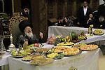 Israel, Bnei Brak, Rabbi Meir Rosenbaum presides over the Tu B'shvat tish at the Premishlan congregation