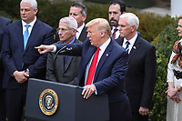 United States President Donald J. Trump declares a national emergency due to the COVID-19 coronavirus pandemic in the Rose Garden of the White House on March 13, 2020 in Washington, DC.<br /> Credit: Oliver Contreras / Pool via CNP/AdMedia