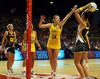 17.10.2012 Australia's Rebecca Bulley and South Africa's Chrisna Bootha in action during the Australia v South Africa netball test match as part of the Quad Series played in Newcastle Australia. Mandatory Photo Credit ©Michael Bradley.