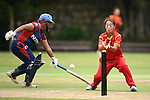 Nairry Thapa (l) of Nepal in action during their ICC 2016 Women's World Cup Asia Qualifier match between China and Nepal  on 11 October 2016 at the Kowloon Cricket Club in Hong Kong, China. Photo by Marcio Machado / Power Sport Images