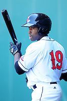 Jackie Bradley Jr. (19) of the Pawtucket Red Sox during a game versus the Scranton/Wilkes-Barre RailRiders at McCoy Stadium on May 27, 2015 in Pawtucket, Rhode Island. (Ken Babbitt/Four Seam Images)