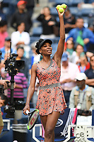 FLUSHING, NY- SEPTEMBER 01: ***NO NY DAILIES***  Venus Williams reacts after winning her match against Maria Sakkari during the 2017 US Open at the USTA Billie Jean King National Tennis Center on September 1, 2017 in Flushing Queens. Credit: mpi04/MediaPunch