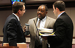 Nevada Assemblymen, from left, Mark Sherwood, R-Henderson, Jason Frierson and James Ohrenschall, both D-Las Vegas, talk after a committee hearing on Tuesday, April 12, 2011, at the Legislature in Carson City, Nev. .Photo by Cathleen Allison