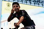 Defending Champion Egan Bernal (COL) Team Ineos Grenadiers on stage at the team presentation before the Tour de France 2020, Nice, France. 27th August 2020.<br /> Picture: ASO/Thomas Maheux | Cyclefile<br /> All photos usage must carry mandatory copyright credit (© Cyclefile | ASO/Thomas Maheux)