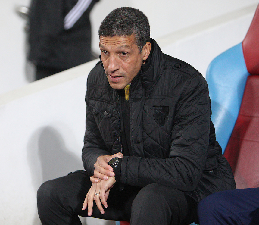 Norwich City's Manager Chris Hughton <br /> <br /> Photo by Kieran Galvin/CameraSport<br /> <br /> Football - Barclays Premiership - West Ham United v Norwich City - Tuesday 11th February 2014 - Boleyn Ground - London<br /> <br /> &copy; CameraSport - 43 Linden Ave. Countesthorpe. Leicester. England. LE8 5PG - Tel: +44 (0) 116 277 4147 - admin@camerasport.com - www.camerasport.com