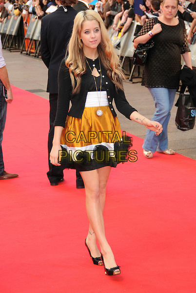 "PEACHES GELDOF .Attends the Batman movie ""The Dark Knight"" UK Premiere, Odeon Leicester Square, London, England,.July 21st 2008..full length black cardigan mustard yellow white dress skirt peep toe shoes heels .CAP/CAS.©Bob Cass/Capital Pictures"