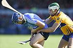 Eoghan O Donnell of Dublin in action against Aaron Shanagher of Clare during their National Hurling League game at Cusack Park. Photograph by John Kelly.