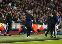 28th December 2019; London Stadium, London, England; English Premier League Football, West Ham United versus Leicester City; West Ham United Manager Manuel Pellegrini looking disappointed from the touchline during the 2nd half - Strictly Editorial Use Only. No use with unauthorized audio, video, data, fixture lists, club/league logos or 'live' services. Online in-match use limited to 120 images, no video emulation. No use in betting, games or single club/league/player publications