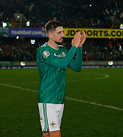16th November 2019; Windsor Park, Belfast, Antrim County, Northern Ireland; European Championships 2020 Qualifier, Northern Ireland versus Netherlands; Trevor Carson of Northern Ireland show his appreciation to the supporters after the full time whistle - Editorial Use