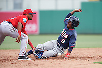 Minnesota Twins Gorge Munoz (2) slides into second base as Santiago Espinal (10) waits for a throw during an Instructional League game against the Boston Red Sox on September 23, 2016 at JetBlue Park at Fenway South in Fort Myers, Florida.  (Mike Janes/Four Seam Images)