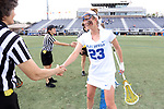 DURHAM, NC - FEBRUARY 16: Duke's Maddie Crutchfield. The Duke University Blue Devils hosted the Campbell University Camels on February 16, 2018, at Koskinen Stadium in Durham, NC in women's college lacrosse match. Duke won the game 18-8.