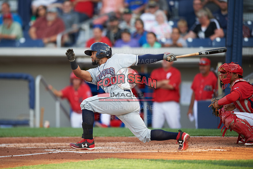 Mahoning Valley Scrappers catcher Jason Rodriguez (20) at bat during a game against the Williamsport Crosscutters on July 8, 2017 at BB&T Ballpark at Historic Bowman Field in Williamsport, Pennsylvania.  Williamsport defeated Mahoning Valley 6-1.  (Mike Janes/Four Seam Images)