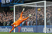 Karl Darlow of Newcastle United can't get to the shot from Chelsea but res it go wide during the Premier League match between Chelsea and Newcastle United at Stamford Bridge, London, England on 2 December 2017. Photo by David Horn.