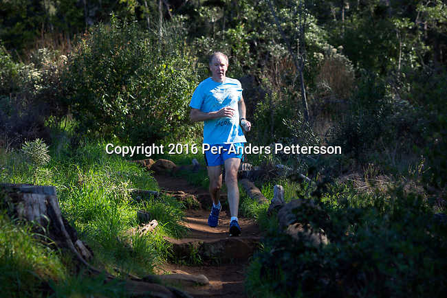 CAPE TOWN, SOUTH AFRICA - AUGUST 10: Tim Noakes,  a South African scientist runs at one of his favorite trails,  on August 10, 2016 in Constantia, outside Cape Town, South Africa.  (Photo by Per-Anders Pettersson/Getty Images)