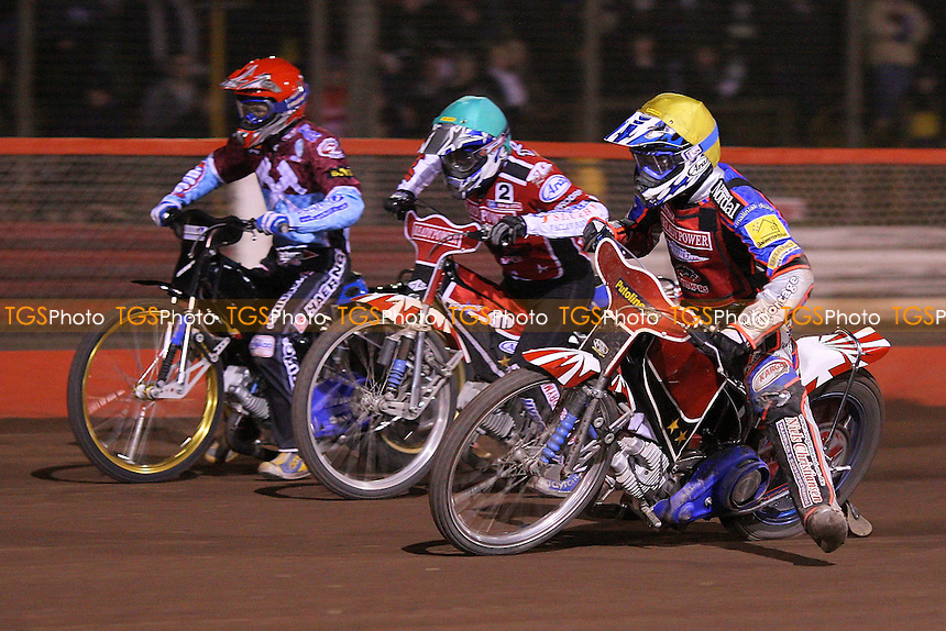 Heat 8: Rene Bach (yellow), Ales Dryml (green) and Jonas Davidsson (red) - Lakeside Hammers vs Peterborough Panthers - Sky Sports Elite League Speedway at Arena Essex Raceway, Thurrock - 03/04/09 - MANDATORY CREDIT: Gavin Ellis/TGSPHOTO - Self billing applies where appropriate - 0845 094 6026 - contact@tgsphoto.co.uk - NO UNPAID USE.