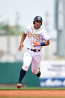 Montgomery Biscuits catcher Luke Maile (21) runs the bases during a game against the Mississippi Braves on April 22, 2014 at Riverwalk Stadium in Montgomery, Alabama.  Mississippi defeated Montgomery 6-2.  (Mike Janes/Four Seam Images)