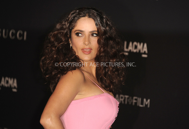 WWW.ACEPIXS.COM<br /> <br /> November 7 2015, LA<br /> <br /> Salma Hayek arriving at the LACMA 2015 Art+Film Gala Honoring James Turrell And Alejandro G Inarritu at LACMA on November 7, 2015 in Los Angeles, California.<br /> <br /> By Line: Peter West/ACE Pictures<br /> <br /> <br /> ACE Pictures, Inc.<br /> tel: 646 769 0430<br /> Email: info@acepixs.com<br /> www.acepixs.com