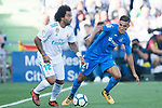 Marcelo Vieira da Silva Junior of Real Madrid (L) fights for the ball with Faycal Fajr of Getafe CF (R) during the La Liga 2017-18 match between Getafe CF and Real Madrid at Coliseum Alfonso Perez on 14 October 2017 in Getafe, Spain. Photo by Diego Gonzalez / Power Sport Images