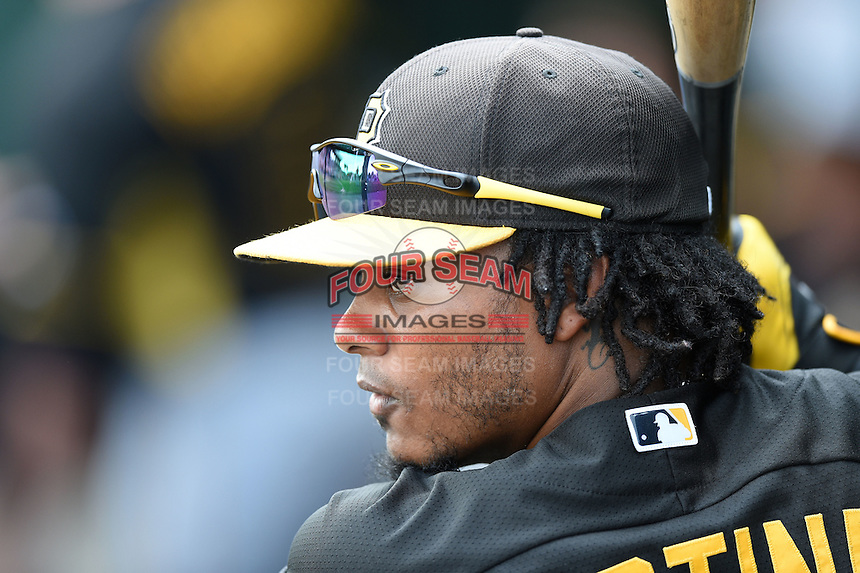 Infielder Michael Martinez (3) of the Pittsburgh Pirates during a spring training game against the Baltimore Orioles on March 23, 2014 at McKechnie Field in Bradenton, Florida.  Baltimore and Pittsburgh played to a 7-7 tie.  (Mike Janes/Four Seam Images)