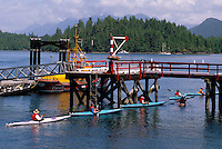 Tofino, Vancouver Island, BC, British Columbia, Canada - Kayakers touring on Ocean Kayak Trip, Summer