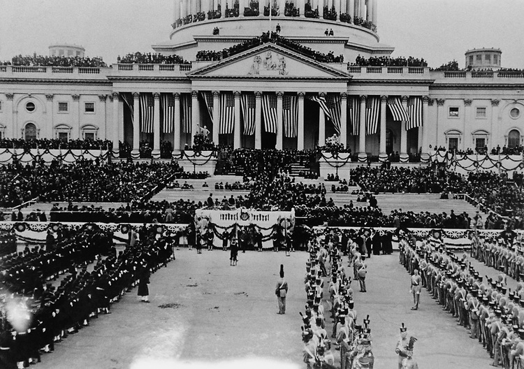 President Wilson  Inauguration on Capitol Hill, in 1913. Photo From the Library of Congress, taken in January 1997. (Photo by CQ Roll Call via Getty Images)
