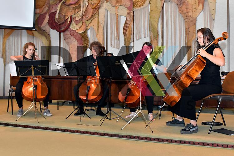 Ludwigshafen 26.06.17 Gedenkminute und Erinnerung fuer Helmut Kohl im Rathaus Ludwigshafen. Im Bild ein Streichquartett.<br /> <br /> Foto &copy; Ruffler For editorial use only. (Bild ist honorarpflichtig - No Model Release!)