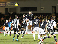 Lee Miller wins in the air in the St Mirren v Falkirk Scottish Professional Football League Ladbrokes Championship match played at the Paisley 2021 Stadium, Paisley on 1.3.16.