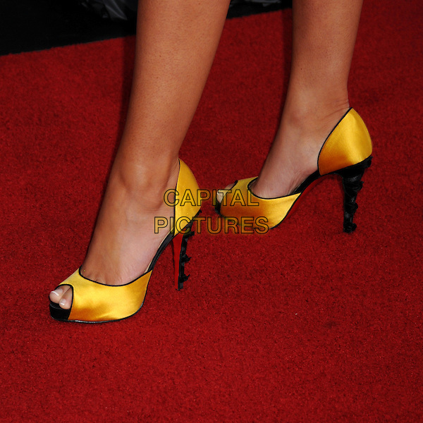 "NADJA BJORLIN .""Vice"" Los Angeles Premiere at Grauman's Chinese Theatre, Hollywood, California, USA, 7 May 2008.detail yellow gold black heels Chriastian Louboutin shoes peep toe silk satin feet .CAP/ADM/BP.©Byron Purvis/Admedia/Capital PIctures"