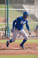 Kansas City Royals shortstop Jeison Guzman (1) starts down the first base line during an Instructional League game against the San Francisco Giants at the Giants Training Complex on October 17, 2017 in Scottsdale, Arizona. (Zachary Lucy/Four Seam Images)
