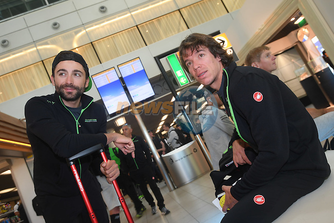 Rigoberto Uran Uran (COL) and Cannondale team mate pictured in Schipol Airport on his way from Amsterdam to the airport at Lamezia Terme in the far south of Italy, and then Catanzaro, the start town for Stage 4 tomorrow, The Netherlands. 9th May 2016.<br /> Picture: ANSA/Claudio Peri | Newsfile<br /> <br /> <br /> All photos usage must carry mandatory copyright credit (&copy; Newsfile | ANSA/Claudio Peri)
