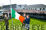 Presentation Secondary School  Proclamation Day by Members of the Irish Defence Forces Lieutenant Damien Ginty,  and  Sergeant David Locke raised the Irish flag with Student Andreea Gergely  on Tuesday