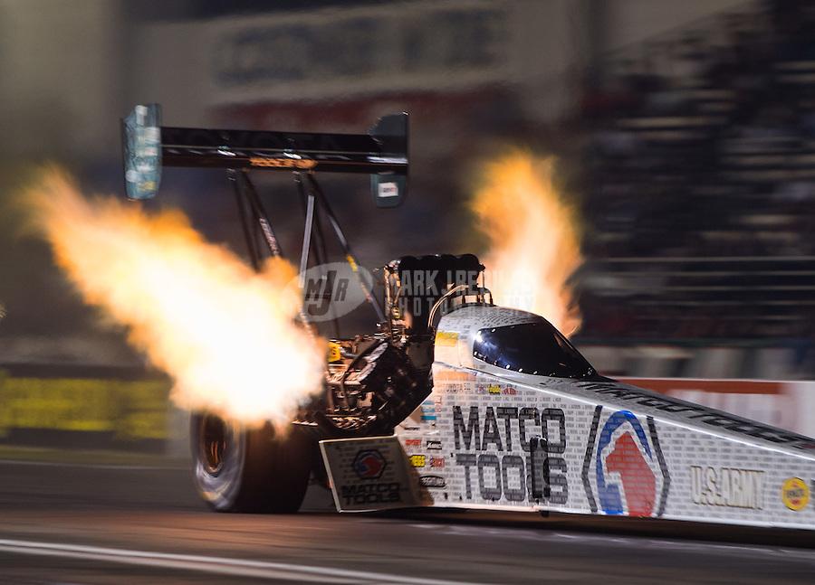 Nov 11, 2016; Pomona, CA, USA; NHRA top fuel driver Antron Brown during qualifying for the Auto Club Finals at Auto Club Raceway at Pomona. Mandatory Credit: Mark J. Rebilas-USA TODAY Sports