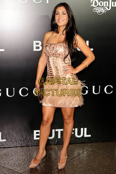 CARLA ORTIZ.Los Angeles premiere of Roadside Pictures' 'Biutiful' at the Directors Guild of America, Los Angeles, CA, USA. .December 14th, 2010 .full length strapless pink silk satin dress feathers feather trim platform mary janes shoes clutch bag hand on hip .CAP/CEL .©CelPh/Capital Pictures