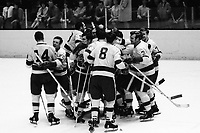 Los Angeles Kings celebrate score against the Seals,<br />(1969 photo by Ron Riesterer)