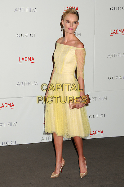 Kate Bosworth.The Inaugural Art and Film Gala held at LACMA in Los Angeles, California, USA..November 5th, 2011.full length yellow dress off the shoulder lace beige shoes clutch bag gold   .CAP/ADM/BP.©Byron Purvis/AdMedia/Capital Pictures.