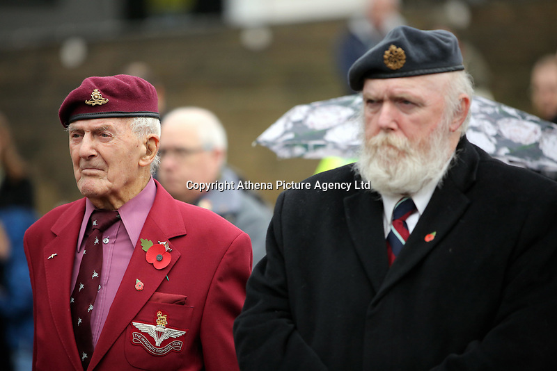 Pictured: Former members of the armed forces observe the two minutes silence. Saturday 11 November 2017<br />Re: Armistice Day, two minutes were observed to mark remembrance at Castle Square in Swansea, Wales, UK.