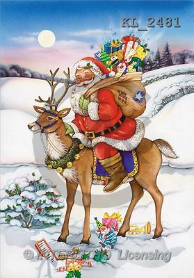 Interlitho, Michele, CHRISTMAS SANTA, SNOWMAN, paintings, santa, bag, deer(KL2481,#X#) Weihnachtsmänner, Schneemänner, Weihnachen, Papá Noel, muñecos de nieve, Navidad, illustrations, pinturas