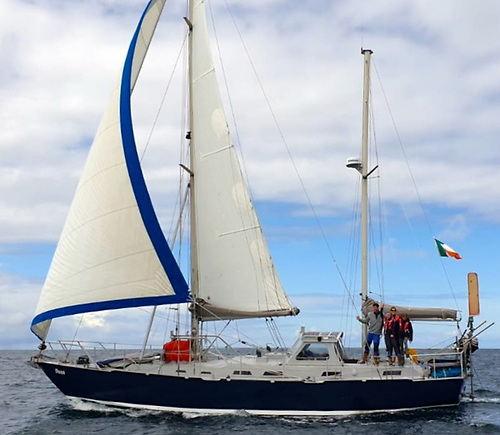 The Quinlan-Owens family's Bruce Roberts 43 steel ketch Danu, built in 1993, was much up-graded by Peter and Vera before the voyage